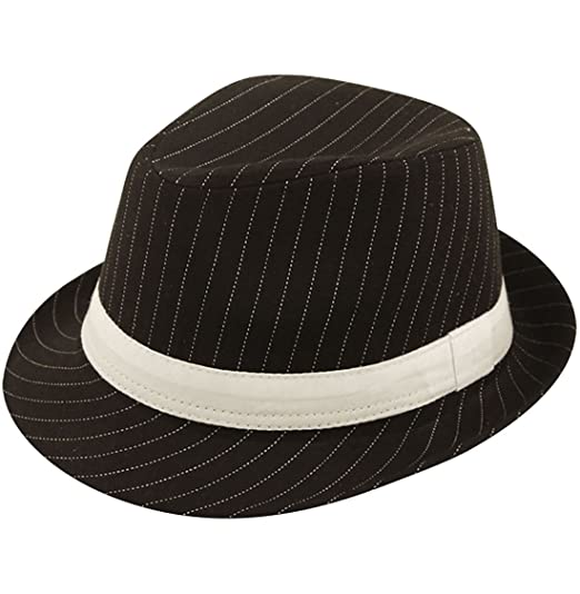 b5b380d1f65 MA ONLINE Black Head Cover Hat with White Stripe Mens Fancy Party Costume  Gangster Hat at Amazon Men s Clothing store