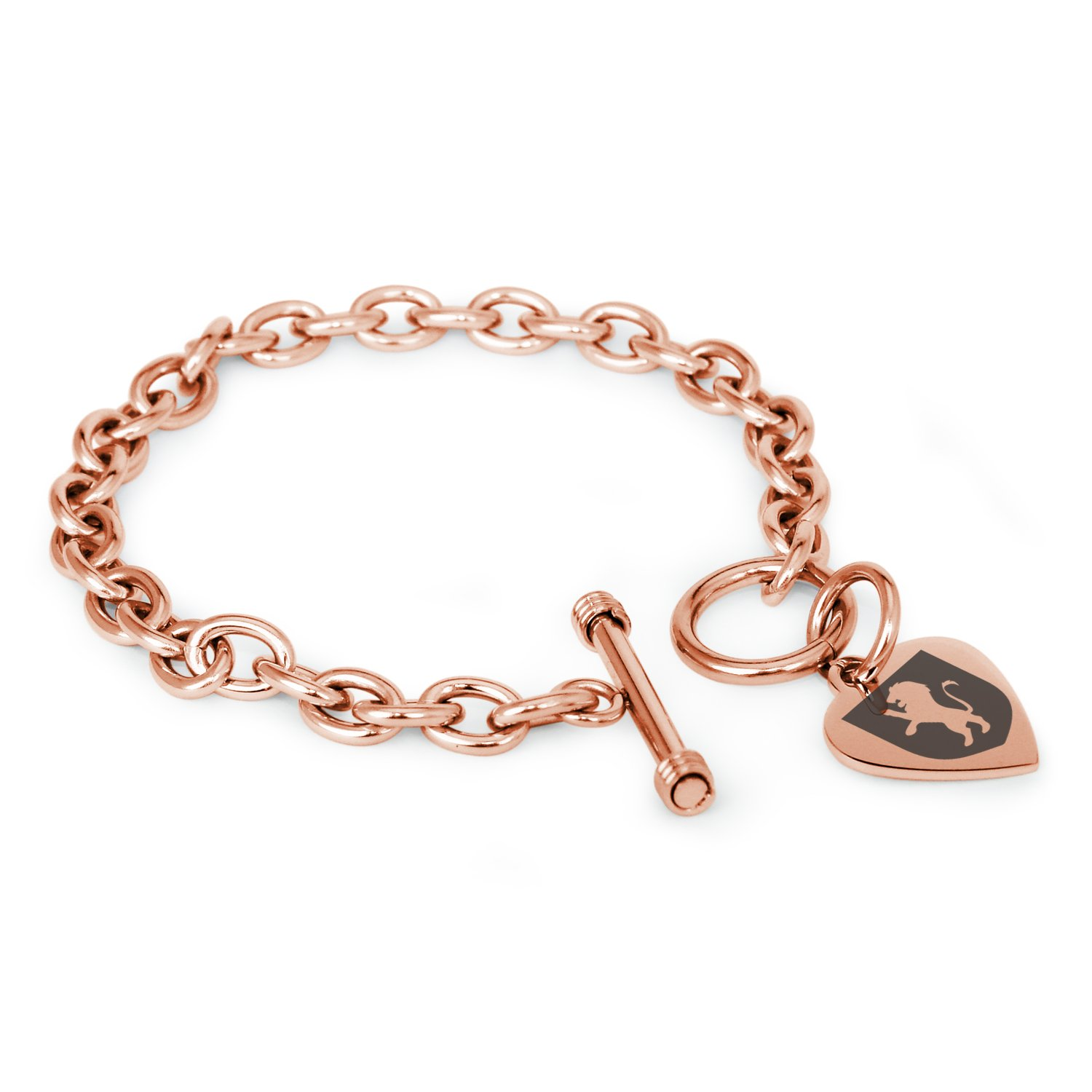Rose Gold Plated Stainless Steel Lion Courage Coat of Arms Shield Symbols Heart Charm, Bracelet Only by Tioneer (Image #1)