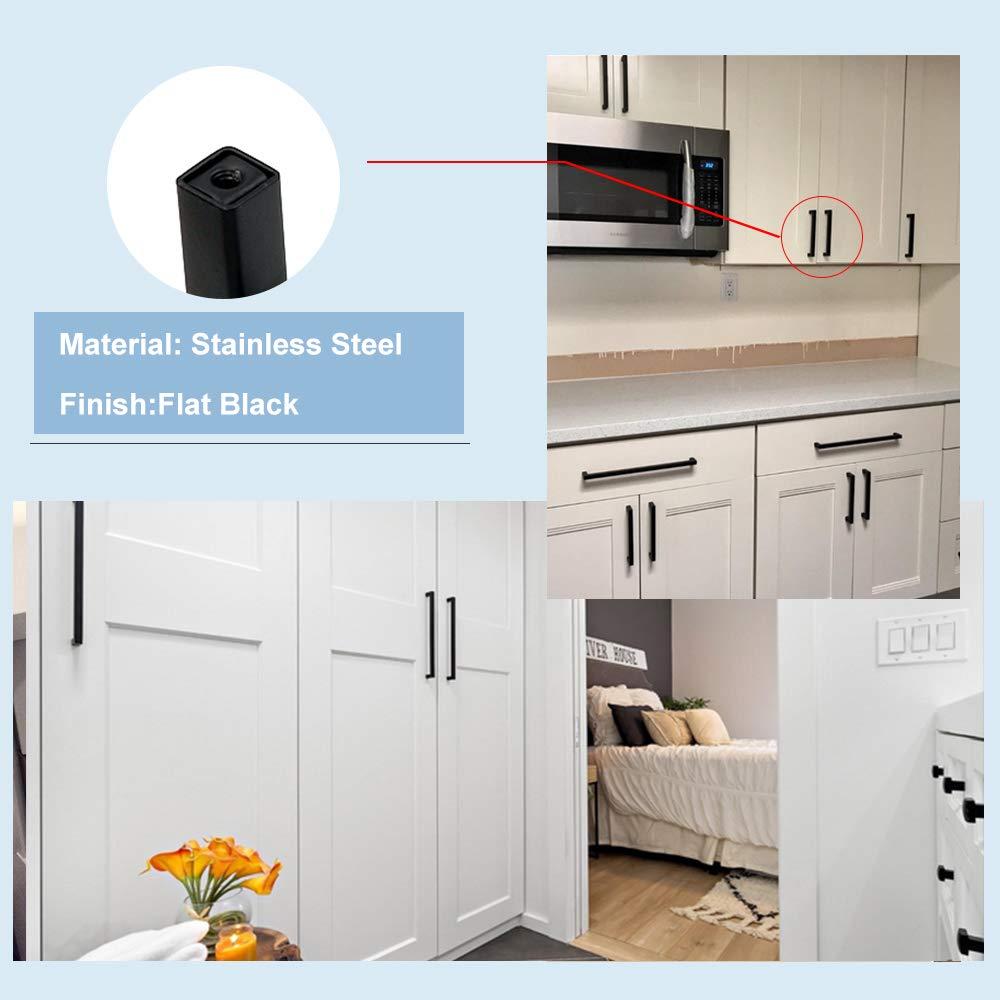 Matte Black Cabinet Hardware Kitchen Cabinet Handles 30Pack - Goldenwarm Black Square Bar Drawer Pulls LSJ12BK76 Black Cabinet Door Handles 3inch Hole Centers,5inch Overall Length by goldenwarm (Image #7)