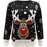 Generation Fashion New Unisex Ladies Women Knitted Reindeer Rudolph Novelty Christmas Xmas Jumper Top Sweater UK Sizes