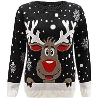 GENERATION FASHION UNISEXE NEUF femmes tricoté renne Rudolph Nouveauté Noël pull sweat tailles UK