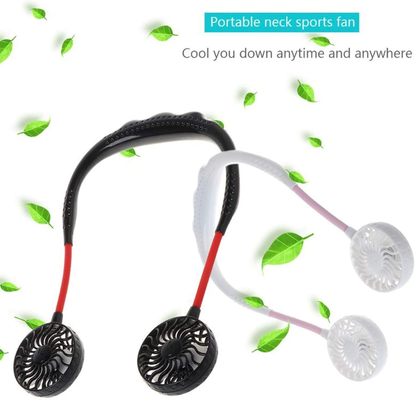 2019 Summer Hands-Free Lazy Band Hanging USB Rechargeable Sports Dual Fan Mini Air Cooler Portable 3 Speeds Large Battery,White