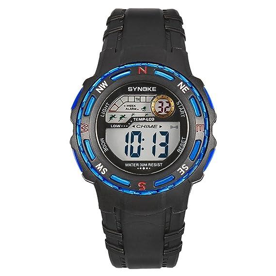 f46bdd5c0304 amstt Niños Reloj De Pulsera Niños Relojes Joven Deportes Relojes Resistente  al agua Digital Alarma electrónica de pulsera Relojes  Amazon.es  Relojes