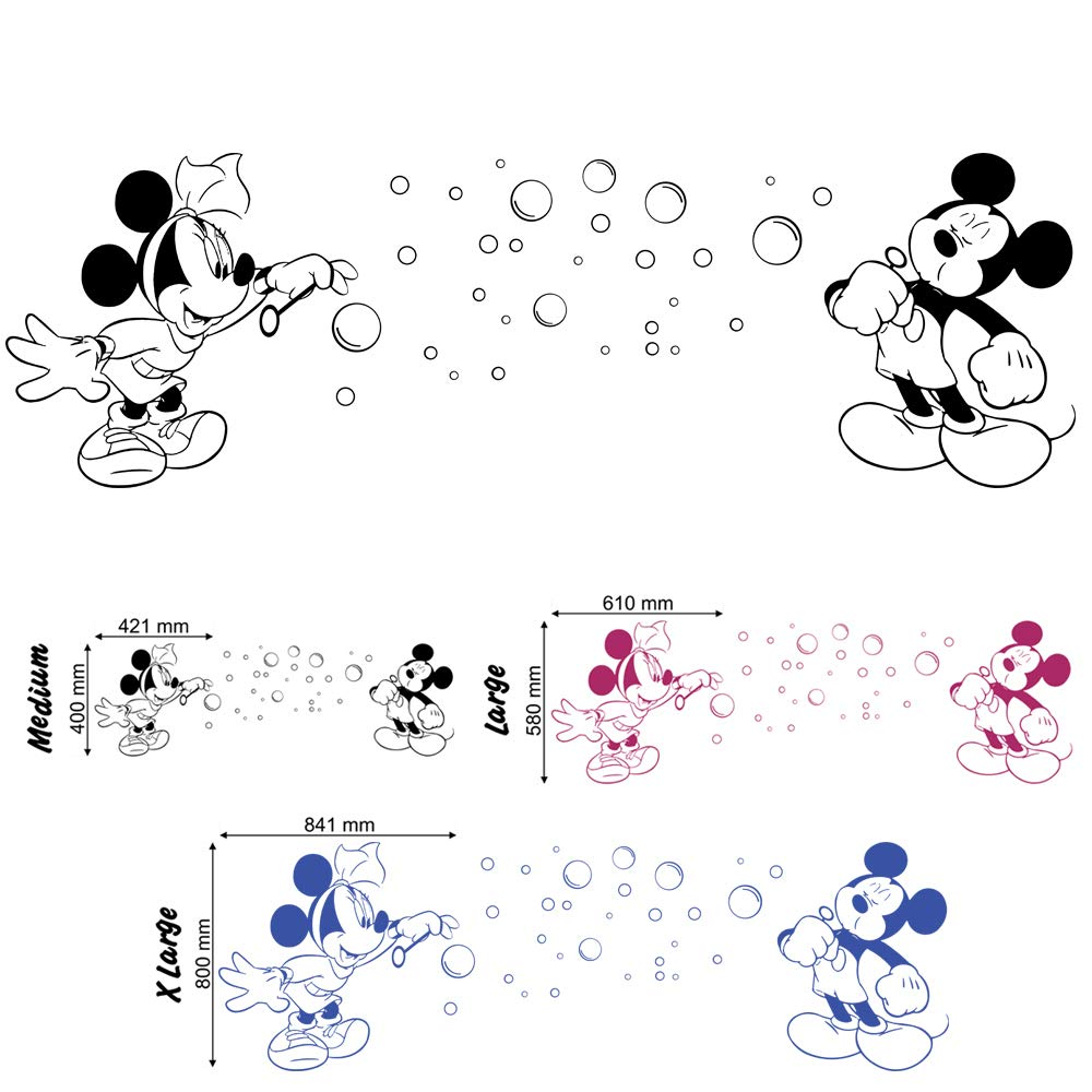 Blowing Bubbles Mickey et Minnie–Sticker mural pour chambre d'enfant garçon fille Jeux Chambre (Petit) Wondrous Wall Art