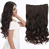 """REECHO 18"""" 1-Pack 3/4 Full Head Curly Wavy Clips in on Synthetic Hair Extensions Hairpieces for Women 5 Clips 4.0 Oz per…"""
