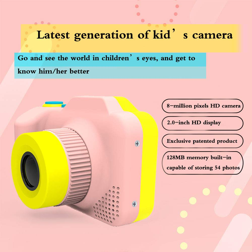 [Upgraded]Kids Camera 1080P Rechargeable Digital Front and Rear Selfie Camera Child Camcorder for Outdoor Play, for 3-10 Years Old Children(Barbie Pink) by HYKT (Image #2)