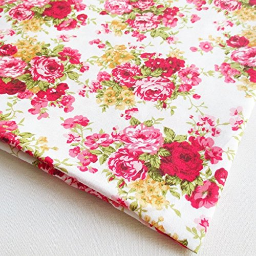 Flowers Cotton Quilt Fabric (English Rose in the Garden Vintage Cotton with Pink Red Rose Bouquet Wedding, Flower Bunch on White Fabric 36 by 36-Inch Wide (1 Yard) (CT480))