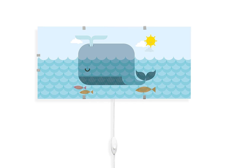 YOURDEA - Kinderzimmer Wechsel Bild fü r IKEA GYLLEN Wandlampe 56cm mit Motiv: Schlafender Wal banjado