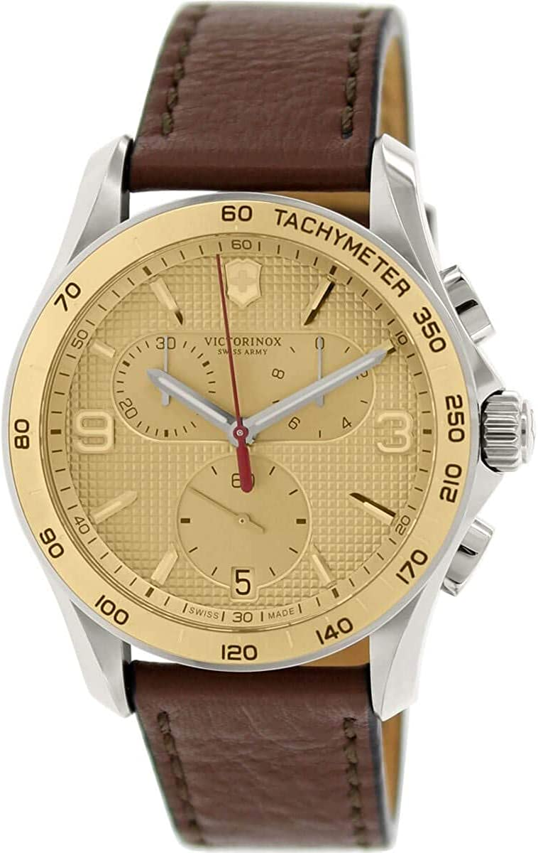 Amazon.com: Victorinox Swiss Army Men's Chronograph Classic Gold Dial Brown  Leather Watch 241659.1: Watches