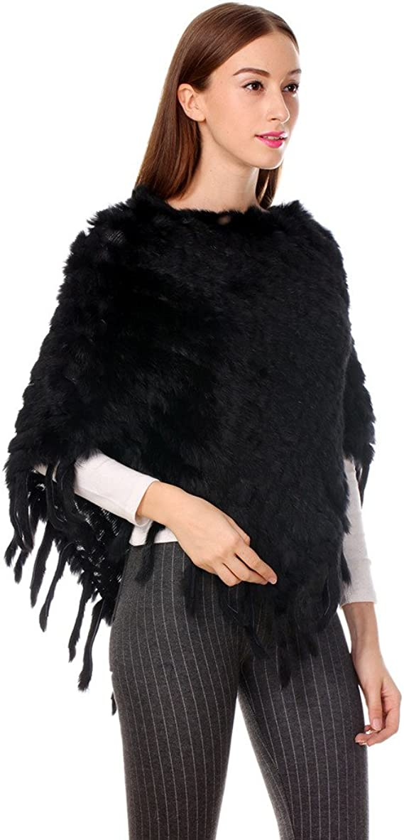 Ferand Womens Elegant Genuine Knitted Rabbit Fur Poncho Cape with Tassels