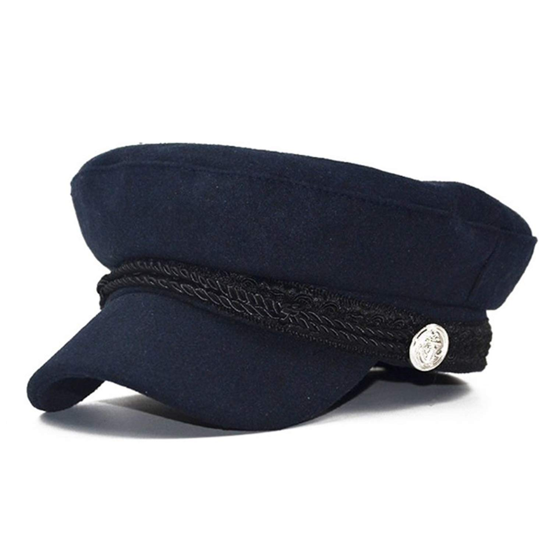6ead950d New Trend Hats for Women Style Wool Baker's Boy Military Flat Hat Cool  Baseball Cap Black Beret Visor Hat at Amazon Women's Clothing store: