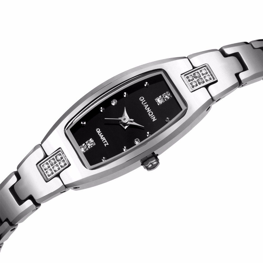 Women Lady Elegant Diamond Rectangle Dial Small Band Tungsten Steel Bracelet Link Wrist Watches (Silver)