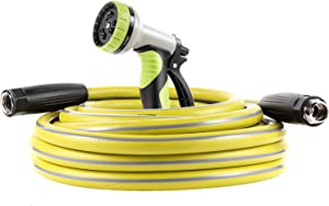 Macuvan Garden Hose 25 ft Heavy Duty-Water Hose with 9 Way Spray Nozzle and Flexible 4 Layers Hybrid-3/4'' Nickel Plated Brass Fittings-5/8'' Inner Core-Lead-Free Outdoor Durable Lightweight Pipe Set
