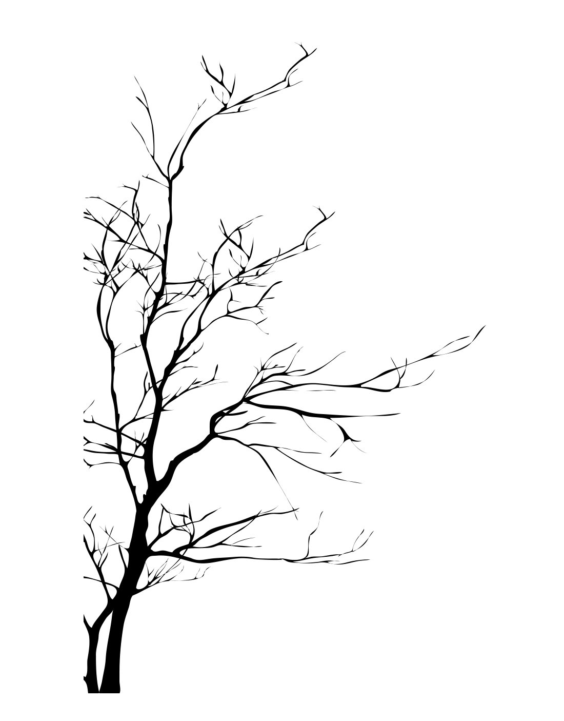Stickerbrand Nature Vinyl Wall Art Bare Tree Branch Wall Decal Sticker - Black, 60'' x 35''. Easy to Apply & Removable. #AC223s
