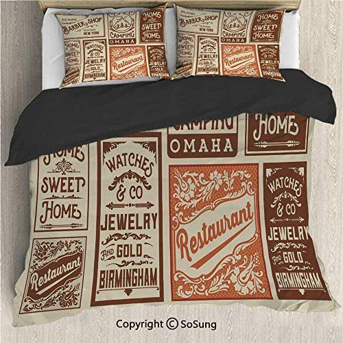 Old Newspaper Decor Black Bedding Set,Advertisement Signs Barber Shop Restaurant Camping Jewelry Home Decorative King Size Decorative 3 Piece Duvet Cover Set with 2 Pillow Shams,Brown Orange Tan