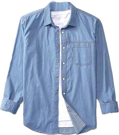 NOBRAND - Camisa vaquera para hombre, color sólido, manga larga, estilo vaquero: Amazon.es: Ropa y accesorios