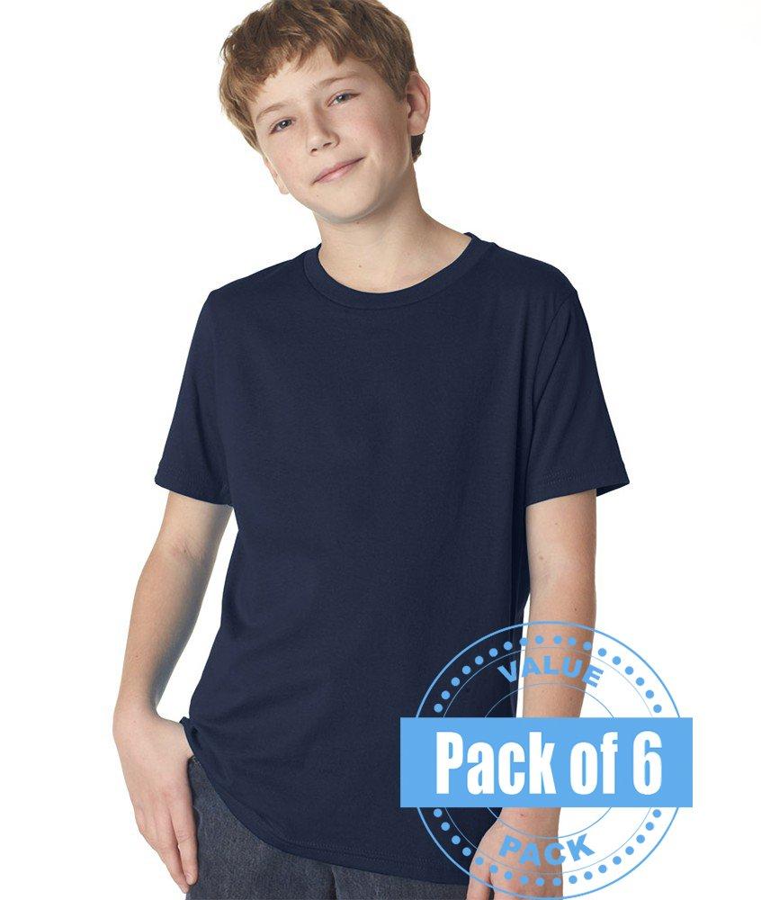 Next Level Boys Boys' Short-sleeve Fine Jersey Crew 3310-Midnight Navy-Large (6 Pack)