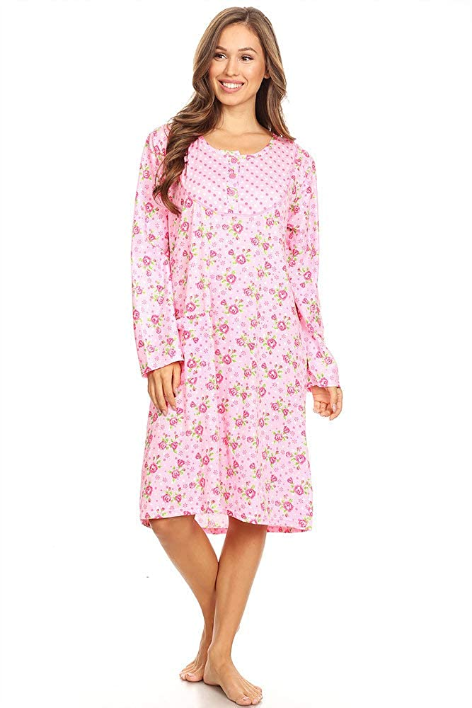 Lati Fashion 6010 Women Nightgown Sleepwear Woman Long Sleeve Sleep Dress