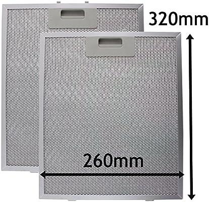 Filtro de malla de metal para campanas extractoras, pack de 2 filtros, 320 x 260 mm, color plateado, de Spares2Go: Amazon.es: Hogar