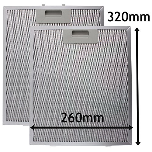 SPARES2GO Campana Antigrasa Filtro (Plata, 320 x 260mm) (Paquete de 2)