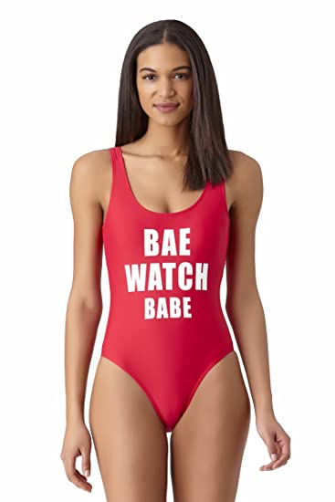 6bfbf17827f California Waves Bae Watch Babe Slogan One Piece Swimsuit Red at Amazon  Women's Clothing store: