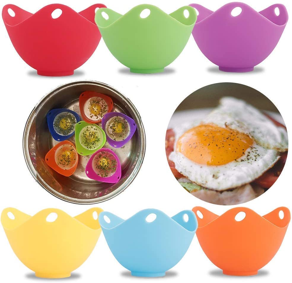 Amabest 6pcs Egg Poacher with Stand Design FDA Mini Silicone Egg Poacher Cups Egg Cooker No BPA Egg Bites Molds Poached Egg Maker Cups, for Microwave, Egg Poacher Pan, Egg Cookware, Stovetop