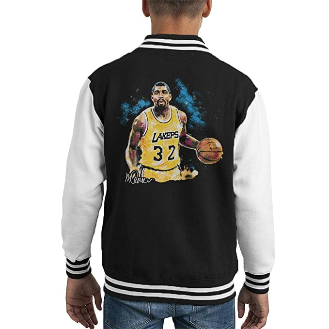 Sidney Maurer Original Portrait of Magic Johnson Lakers Kids Varsity Jacket: Amazon.es: Ropa y accesorios