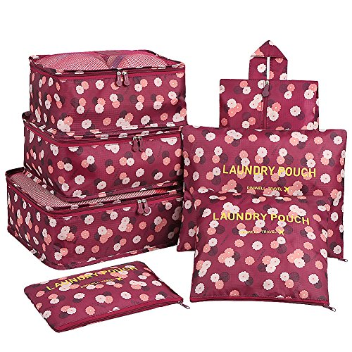 Packing Cubes Set,Mossio 7 Piece Compression Value Weekender Set Wine Flower