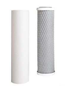 Green Label Universal 10 Inch Replacement Filter Set for Standard Multi-Stage Reverse Osmosis Water Filtration Systems: 1 PP Sediment, 1 CTO Carbon Block Filters (2 Filters)