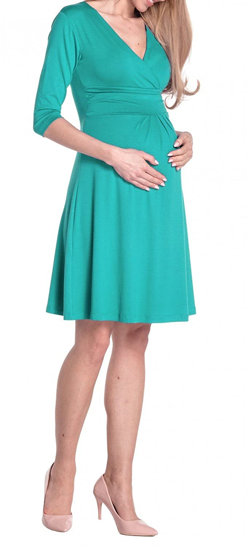 Teal, UK 12, L Happy Mama Womens Maternity Casual Dress Knee Length 282p