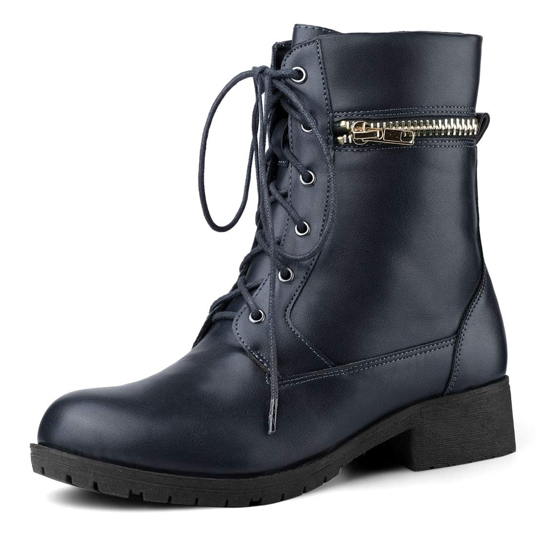 Allegra K Womens Christmas Lace Up Combat Boots