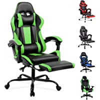 ALFORDSON Gaming Chair Racing Chair Executive Sport Office Chair with Footrest PU Leather Armrest Headrest Home Chair (Green)