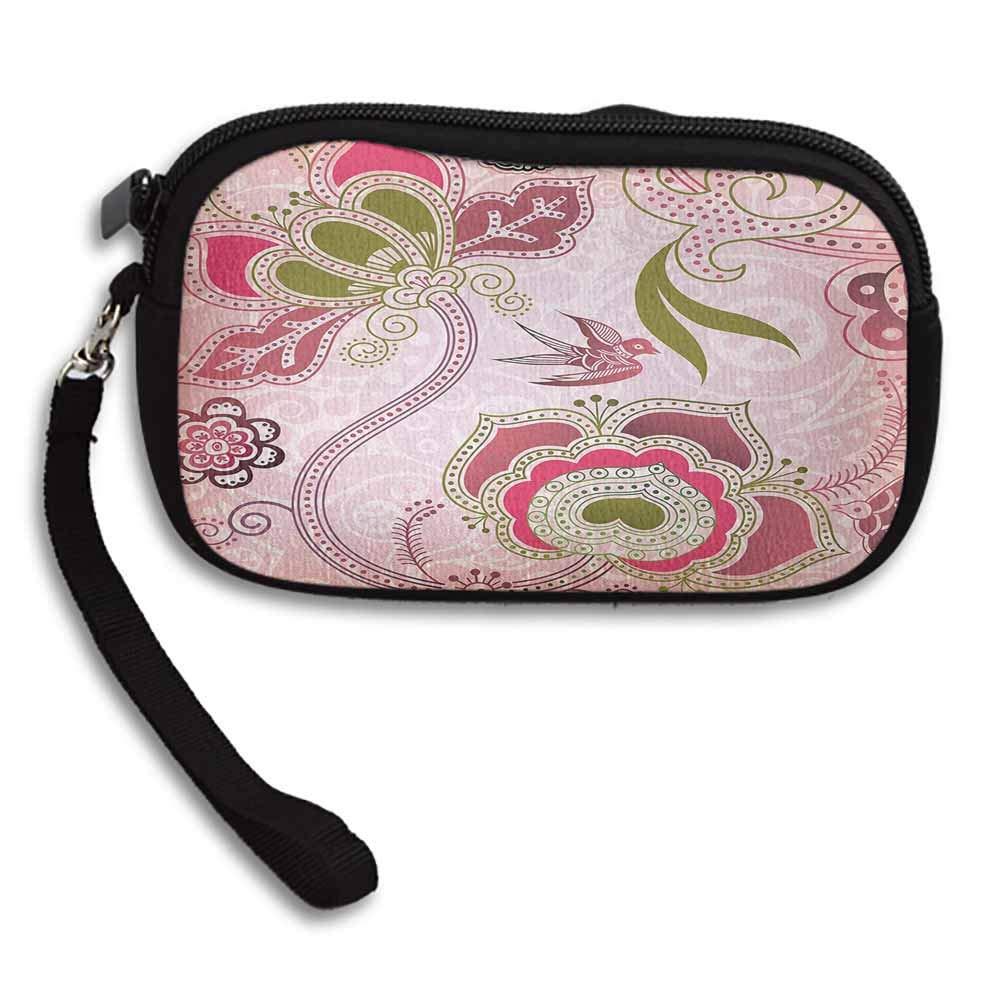 Ethnic Wallets Ethnic Asian Floral with Scroll Swirl Leaf Lines Boho Artwork W 5.9x L 3.7 Purse Handbag For Women