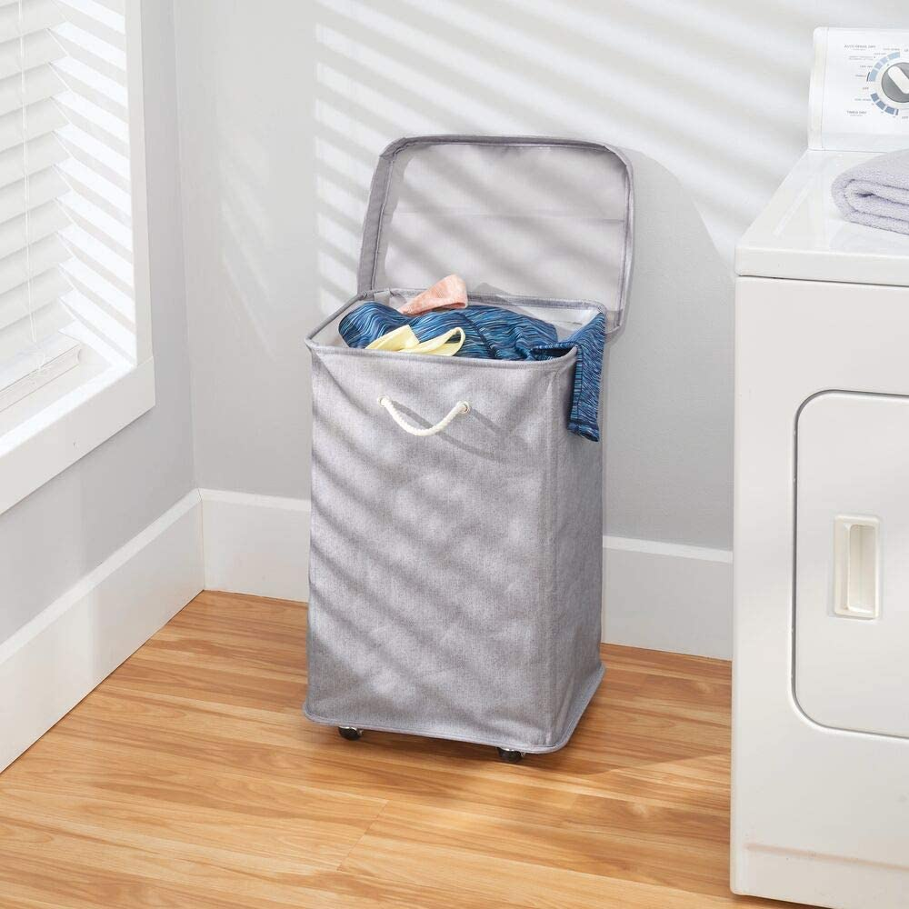 Grey Foldable Kids Laundry Bin with Handles Polyester Laundry Basket with Plastic Wheels mDesign Rolling Laundry Bin with Lid for Bathroom Bedroom or Utility Room