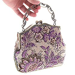 Antique Style Sequined handmade Womens Vintage Envelope Evening wedding Cocktail Party Handbag Clutch purse wallet (1 purple)