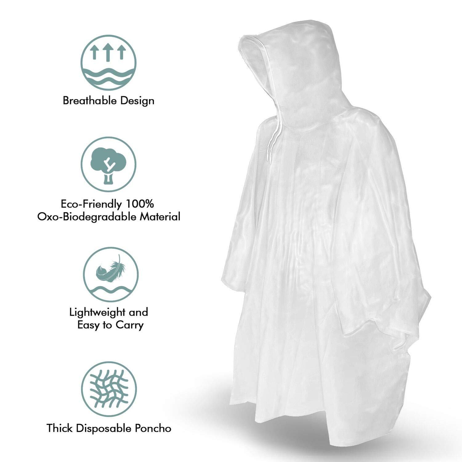 for Concerts Camping Waterproof Emergency kit Outdoors Disneyland Clear Poncho with Hood for Men TORASO Rain Ponchos for Adults Disposable One Size Fits All Hiking Women and Teens