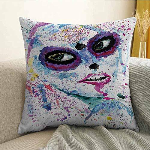 Girls Printed Custom Pillowcase Grunge Halloween Lady with Sugar Skull Make Up Creepy Dead Face Gothic Woman Artsy Decorative Sofa Hug Pillowcase W18 x L18 Inch Blue -