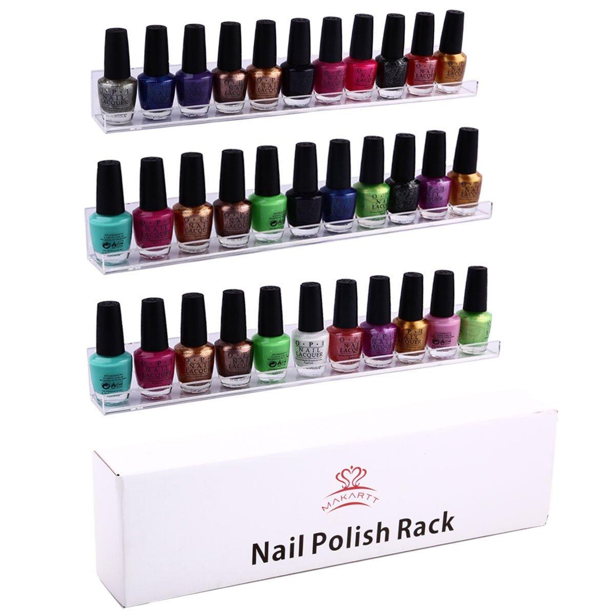 3 shelf set wall mount acrylic nail polish rack holds 33. Black Bedroom Furniture Sets. Home Design Ideas