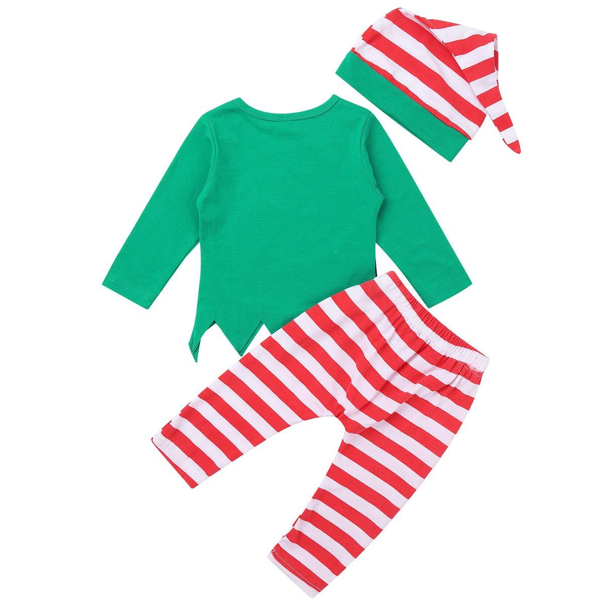 Freebily Ropa Conjunto Beb/é Ni/ña Ni/ño Recien Nacido Elfo Disfraz de Duende Beb/é Navidad Camisa Top Manga Larga con Pantal/ón Rayada Gorro de Santa