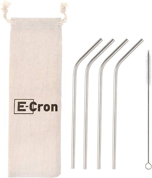 4 x pajitas E-Cron curvadas de acero inoxidable de grado ...