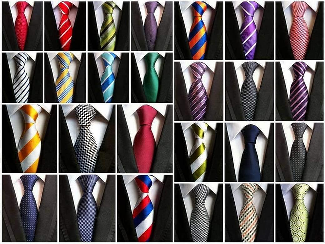 COMVIP Hombres Compruebe rayas jacquard tejida corbata mal negocio ...