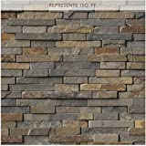 Rustique Interlocking 8 in. x 18 in. x 10 mm Slate Mesh-Mounted Mosaic Tile