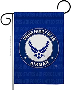 Breeze Decor Proud Family Airman Garden Flag Armed Air Force USAF United State American Military Veteran Retire Official House Decoration Banner Small Yard Gift Double-Sided, Made in USA