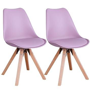 duhome elegant lifestyle chaise salle manger lot de 2 rose en plastique coussin en similicuir - Chaises Scandinaves Couleur