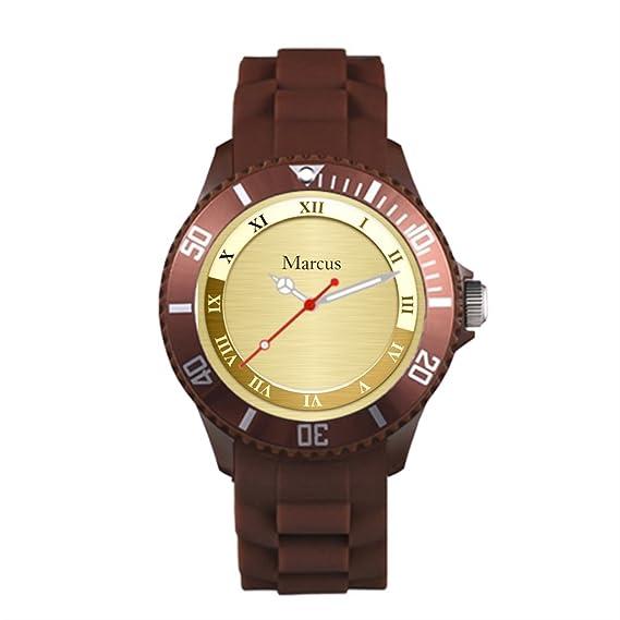Sueño etapa metálico marrón correa de plástico reloj deportivo plantilla plástico deporte reloj de pulsera: Amazon.es: Relojes
