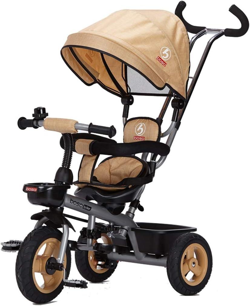 Stroller Triciclo Infantil Bicicletas de Doble dirección Adecuado for 1-5 años de Edad Andar en Bicicleta Sillas De Paseo (Color : Khaki)