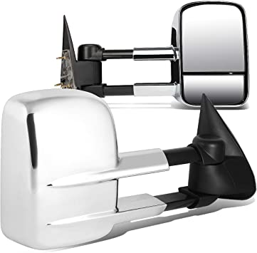 For 88-02 GMC C//K GMT400 Chrome Manually Extendable Rear Side View Towing Mirror