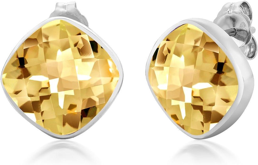 Sterling Silver Citrine 6X4MM Oval Stud Earrings