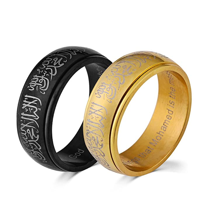 PAURO 316l Stainless Steel Muslim Spinner Ring Band with Shahada in Arabic & English Black/Gold wByLL4KBT