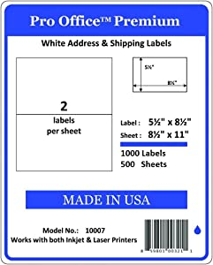 Pro Office Premium 1000 Half Sheet Self Adhesive Shipping Labels for Laser Printers and Ink Jet Printers White Made in USA 5.5 x 8.5 Inches Pack of 500 Same Size As8126 and More